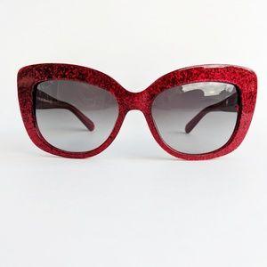 Kate Spade Ursula/S Red Glitter Cat Eye Sunglasses